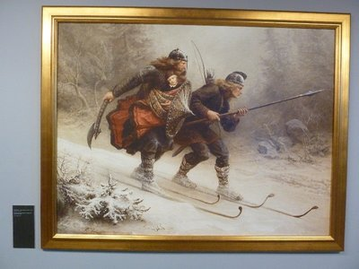 Painting of early skiers in the Holmenkollen Ski Museum