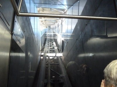 The view going up in the lift to the top of the Ski Jump
