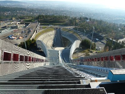 The view down the Ski Jump from the start at the top