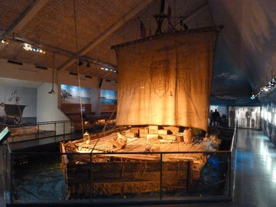 Front view of the Kon-Tiki used in Thor Heyerdahl's 1947 Peru to Easter Island Expedition