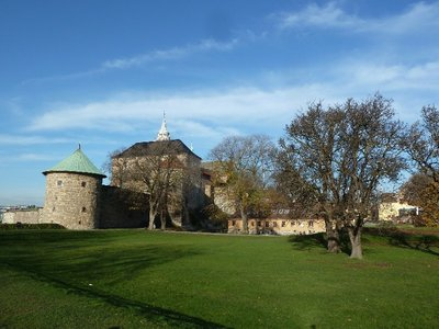 Looking back at Akerhus Festning (Akerhus Fortress - Oslo's Castle) from its battlements