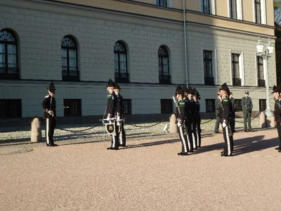 The King's Guard arrive at the Slottet ready for the Changing of the Guard