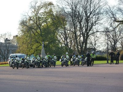 Police outriders assemble after escorting the President of Ghana's cavelcade