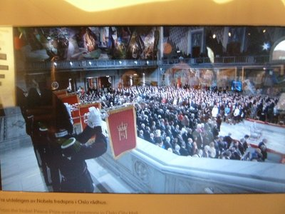 Still from a video of the 2013 Peace Prize Award Ceremony across the road in The Great Hall of Oslo City Hall, I thought I'd include to compare with what it looked like empty!