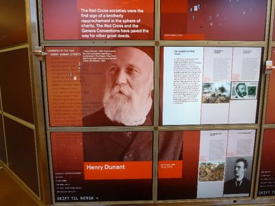 The Nobel Peace Centre's interactive 'Wall of Papers' where you can use slider to bing up details of a laureate's nomination - this is Henry Dunant, the founder of the Red Cross and prize winner for 1901