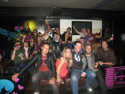 Party time in Queenstown with my Magic Bus crew (I'm first on the left)