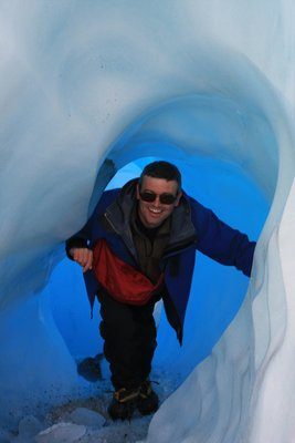 Me emerging from an ice tunnel on the Franz Josef Glacier