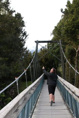 The wobbly bridge on the track down to Lake Matheson, every step and the whole bridge seems  to move to the left or right!