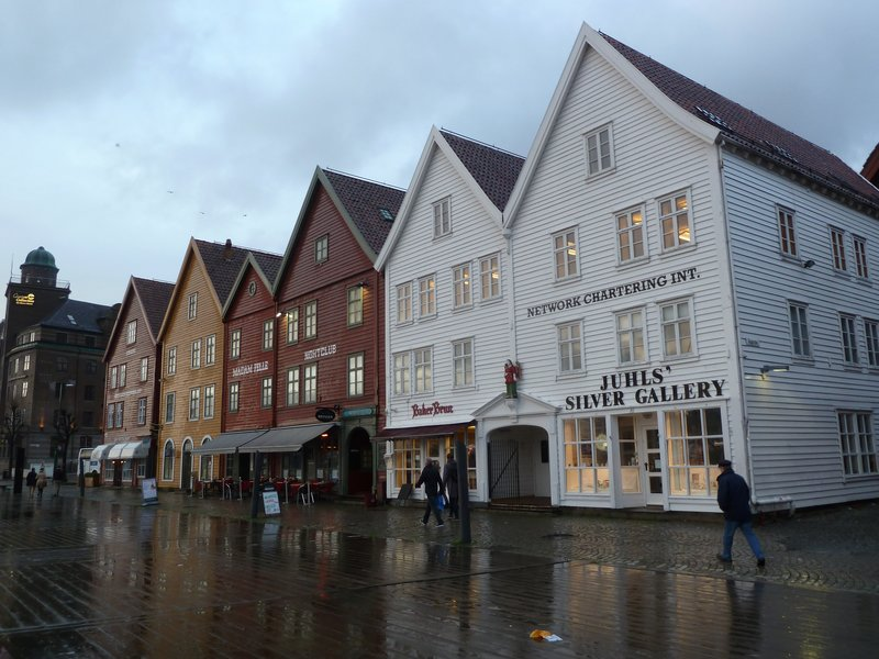 Another view of the old timber warehouse fronts of Bryggen