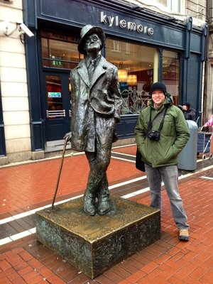 James Joyce statue on O'Connell Street