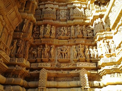 Carvings on a temple at Khajuraho