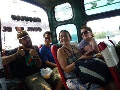 Domingo, Adrian,Katie and Karen on the bus