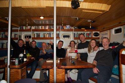 The crew of Pelagic assemble on board