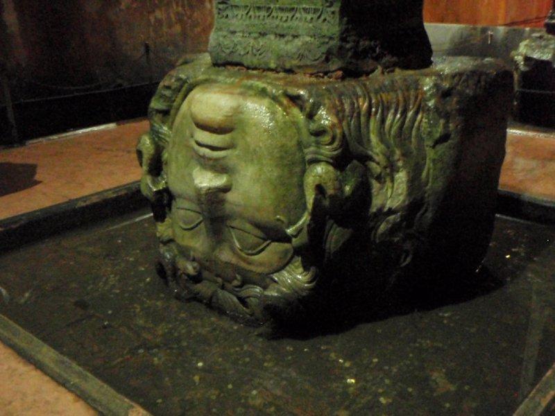 A Medusa Head used as a foundation in the Basilica Cistern
