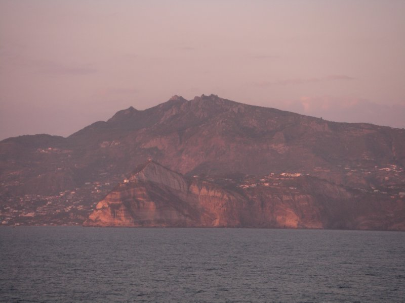 Passing Ischia in the sunset