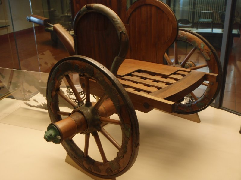 An ancient Etruscan chariot from the Vatican Museum