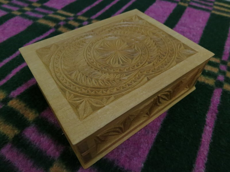 Cedar carved wood box