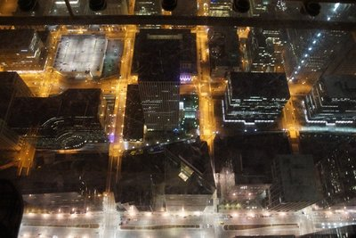 View from Willis Tower showing glass floor of Sky Deck
