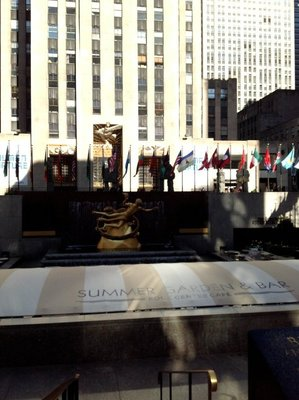View to cafe area of Rockefeller Plaza