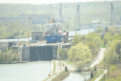 Ship in loch on Welland Canal Lake Ontario