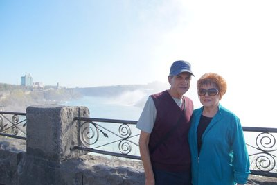 Julie and Philip Kornmann at the top of the falls at Clifton Heights