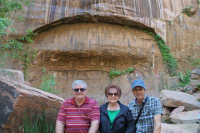 David, Julie & Phil at arch on walk out of Temple of Sinawava