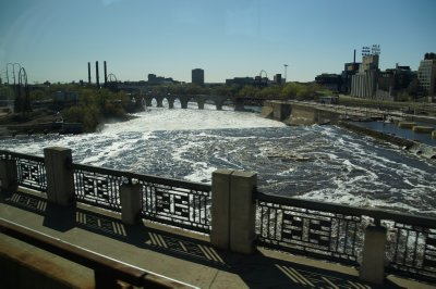 Mississippi River in Minneapolis with St Paul Falls - the only waterfalls on the Mississippi River