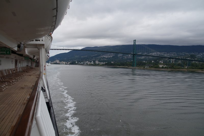 MS Volendam travels under the Lions Gate Bridge as we enter English Bay at Vancouver