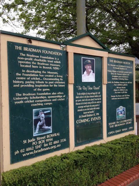 Information Board at the Bradman Museum and International Cricket Centre