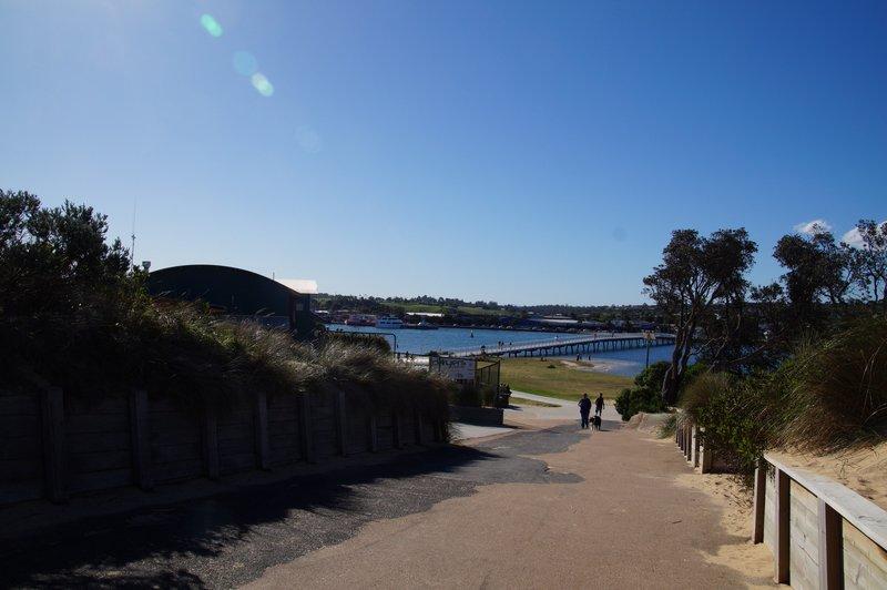 Cunninghame Arm Footbridge provides access to the Main Beach on Bass Strait