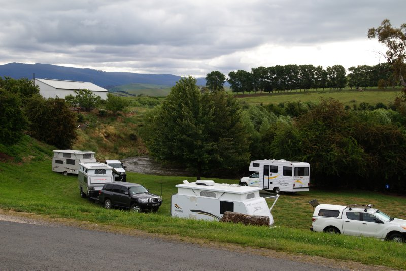 Campground at Hamilton on banks of the Clyde River