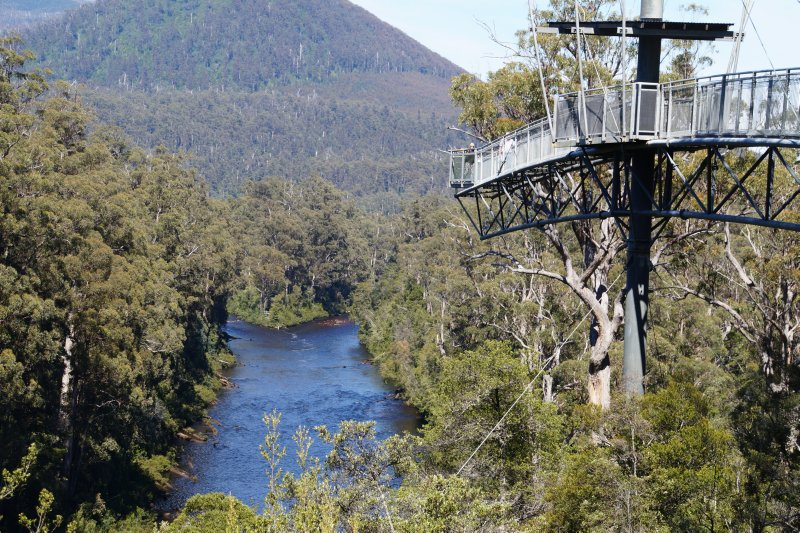 Cantilever near the confluence of the Huon and Picton Rivers on The Tahune Forest Air Walk
