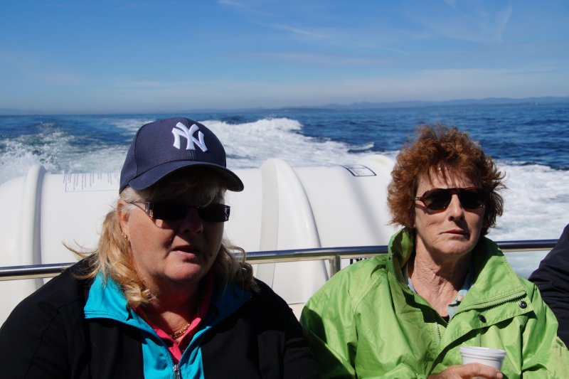 Colleen and Donna on the whale boat