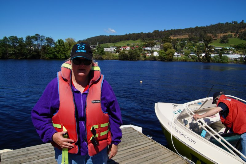 Colleen at the Huon Jet Boat