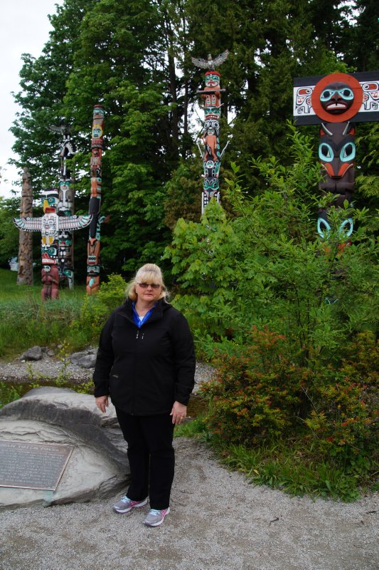 Colleen near Totem Poles in Stanley Park