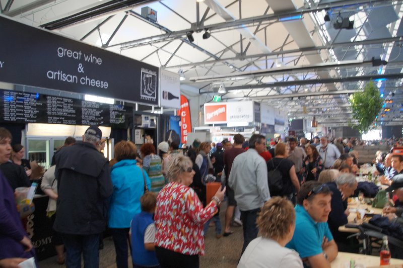 Crowds in the shed at Taste of Tasmania