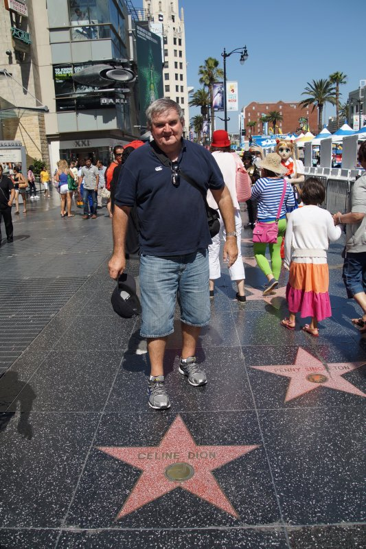 David  near Celine Dion star on Hollywood Boulevard