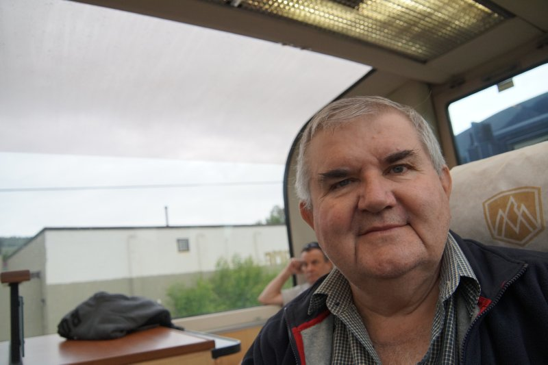 David on the Rocky mountaineer at  Kamloops