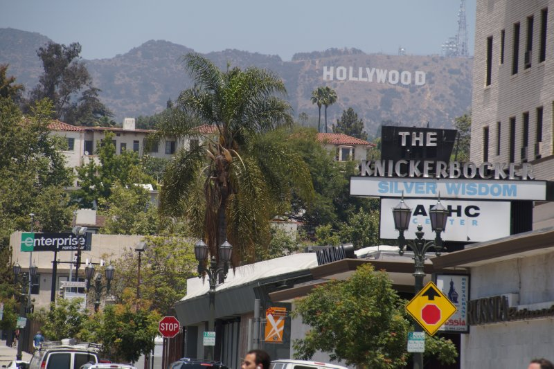 Hollywood sign from  Hollywood Boulevard