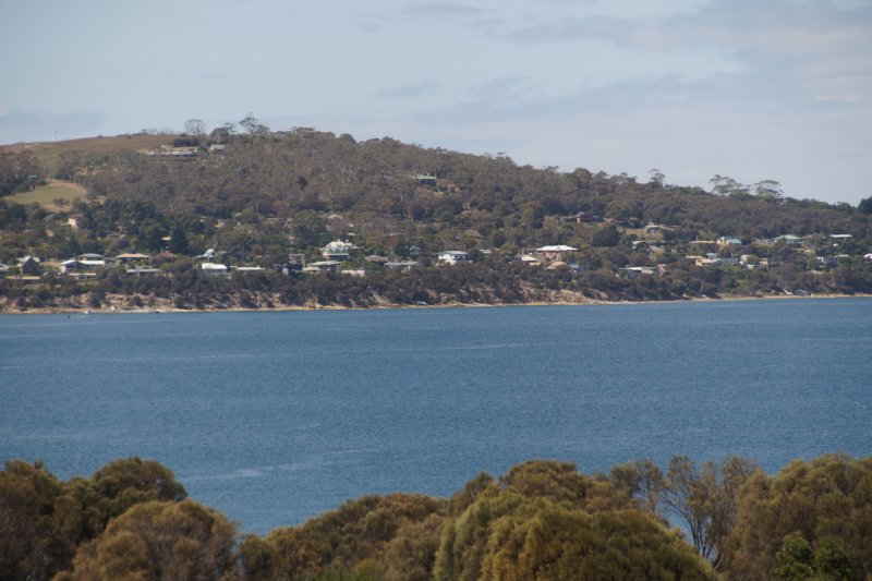 Opossum Bay with Kingston on the other side of the channel leading to the mouth of the Derwent River