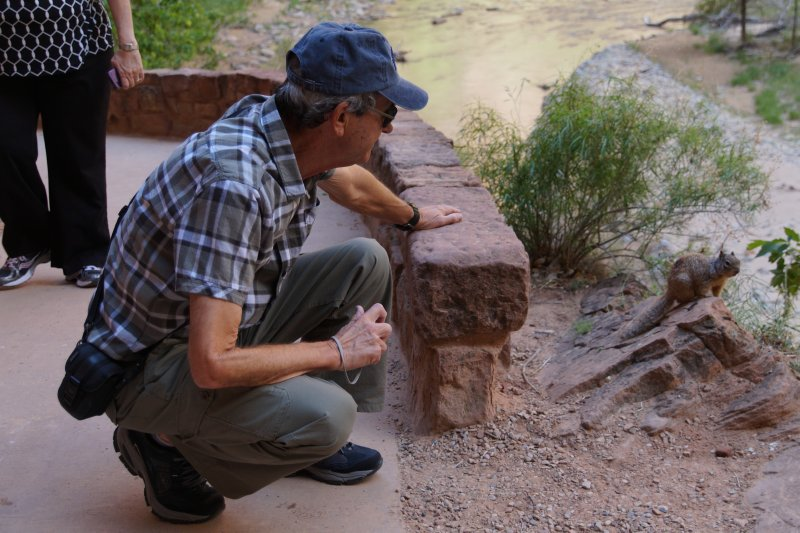 Phil taming the wildlife - the squirrel at Temple of Sinawava