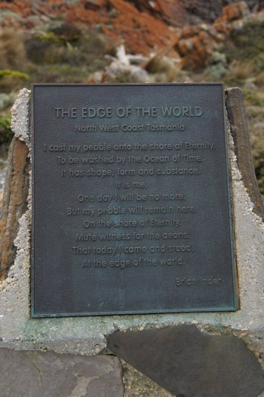 Plaque at The Edge of the World Lookout at Arthur River