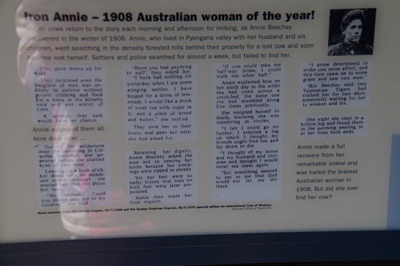 Signage at St Columba Falls, Pyengana - the story of Annie Beechley 1908 Australian Woman of the Year