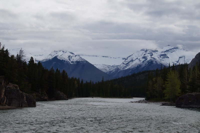 Spray River and Bow River merge near Bow Falls