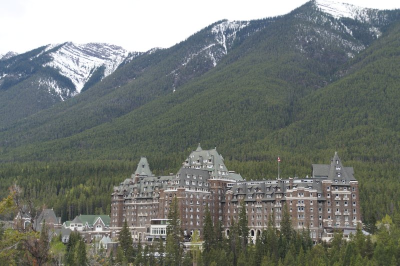 View from Surprise Coorner on Tunnel Mountain with Fairmont Bannf Springs Hotel in view