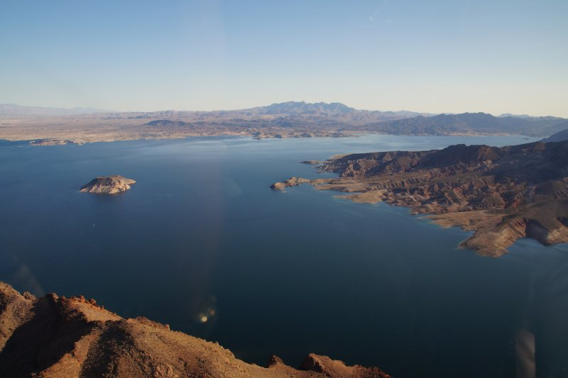 View from Eurocopter EC130 enroute to Grand Canyon Lake Meade