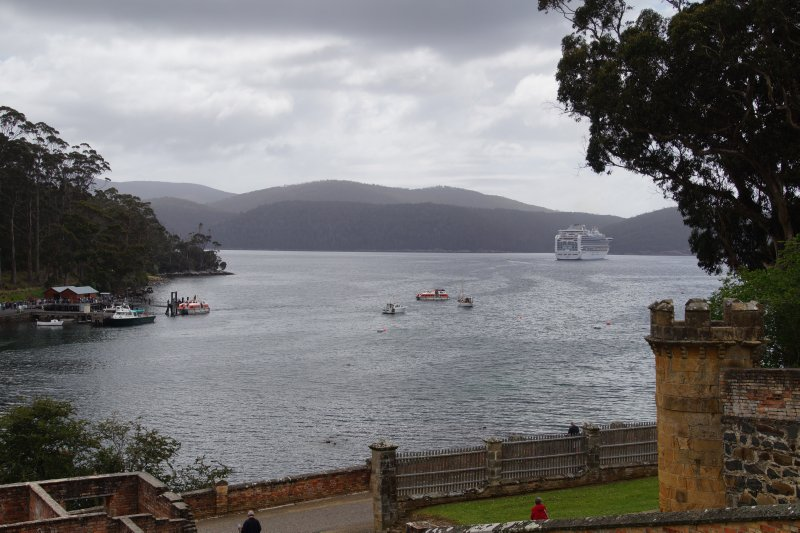 land view of Port Arthur with Diamond Princess cruise ship in the harbour