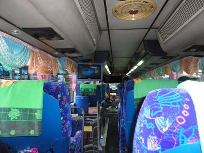 Long distance night bus, quite common in Thailand