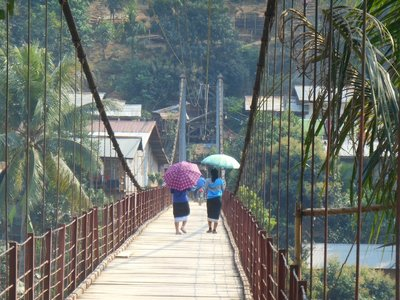 Muang Khua wobbly bridge