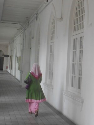 Woman in the textile museum